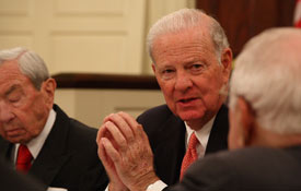 Warren Christopher and James Baker at the Miller Center in 2008.